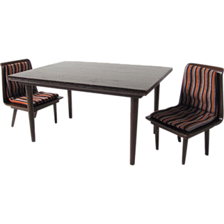 Mattel Danish Modern Dining Table and Chair Set Wood Doll Furniture Vintage 1958