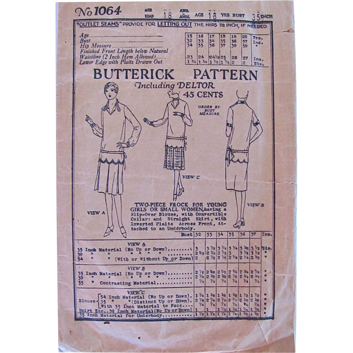 Two Piece Flapper Dress, Butterick Pattern 1064, Bust 35 Inches, Vintage 1919, Complete