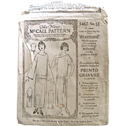 Early Printed Sewing Pattern, The New McCall 3467, Women's Slip On Dress, Size 16, Vintage 1921, Complete