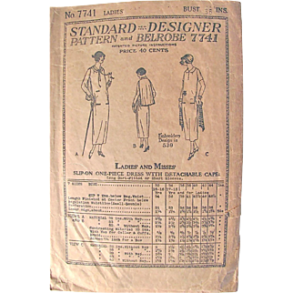 Standard Designer Pattern 7741 Misses Dress With Detachable Cape Vintage 1925 Unused Unprinted Pattern Bust 36