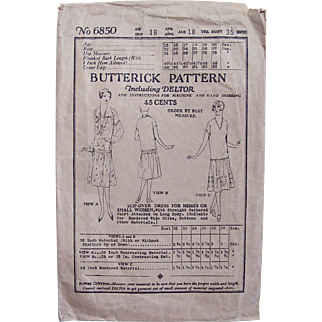 Flapper Dress Butterick Pattern 6850, Vintage 1923, Slip-over Dress for Small Women, Bust 35, Complete Unused