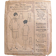 The New McCall Printed Pattern 4576, Girls' Two-Piece Dress Size 6 Years, Vintage 1921, Complete and Unused
