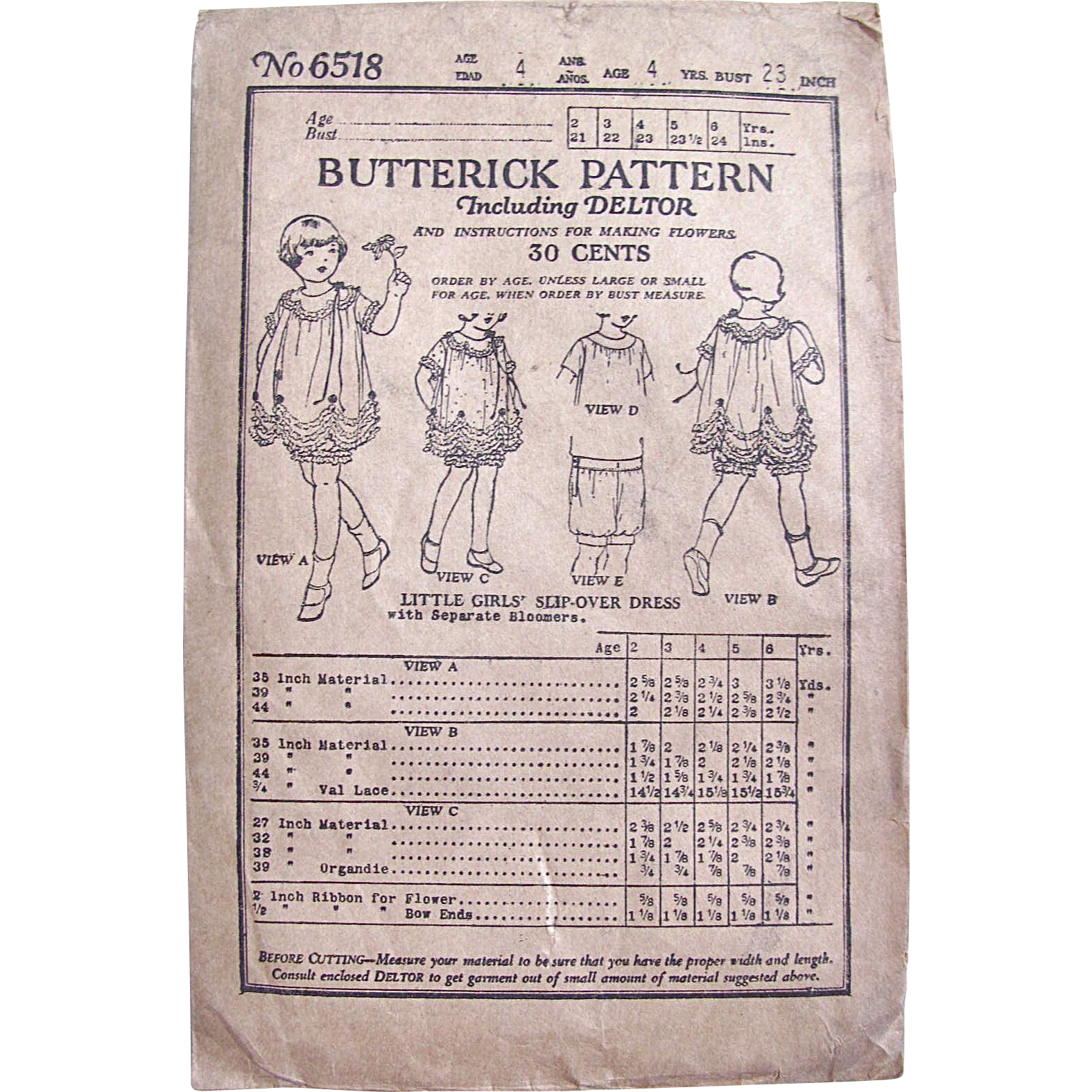 Butterick Pattern 6518, Little Girls' Slip-over Dress With Matching Bloomers, Vintage 1923, Size 4 Years, Complete, Unused