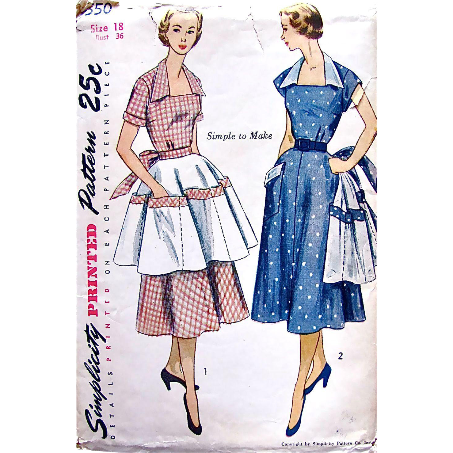 Womens Dress and Apron Pattern Simplicity 3550 Uncut Factory Folded Vintage 1950s Size 18 Bust 36 Inches