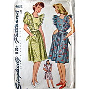 Misses Dress or Pinafore Apron Pattern Simplicity 4632 Factory Pre-cut Complete Vintage 1940s Size 14