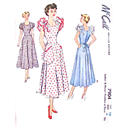 Misses Pinafore, Dress, Apron Pattern, McCall 7904, Uncut and Factory Folded, Vintage 1949, Size 12