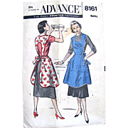Misses Apron Sewing Pattern, Advance 8161, Vintage 1950s, Size Small, Cut and Complete