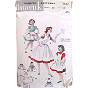 Girls Apron Pinafore Pattern, Butterick 6532, Complete, Vintage 1950s, Size 12 Teen, Hard to Find Vintage Sewing Pattern