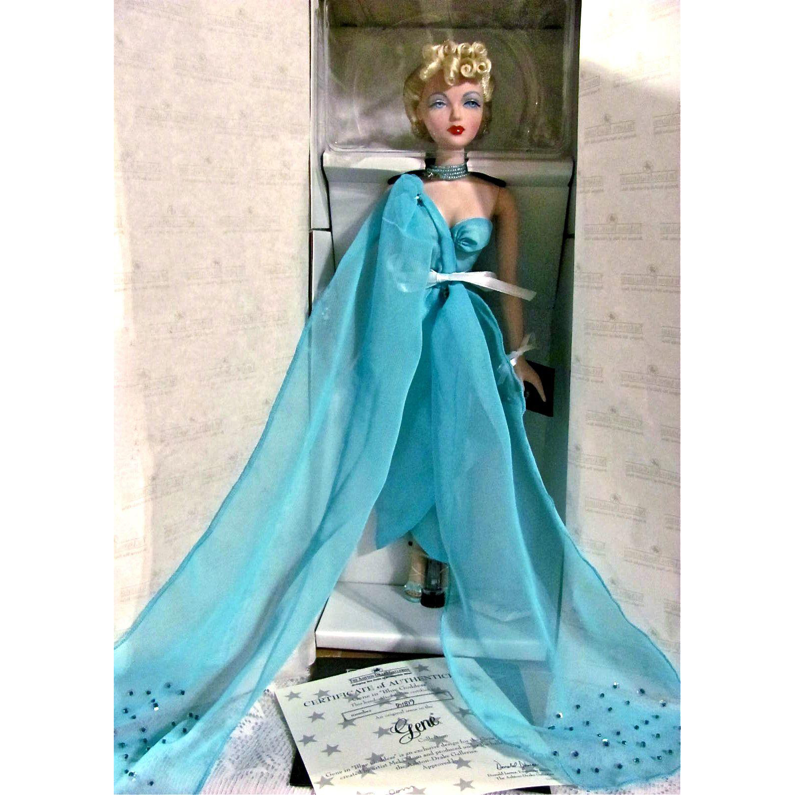 Gene Doll In Blue Goddess Mint in Box Signed by Mel Odom Complete With Original Shipper Vintage 1995-96