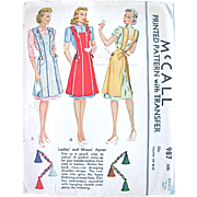 Misses Apron Sewing Pattern, McCall 987, Complete with Unused Transfer, Vintage 1940s, Size Small, Bust 32-34 Inches