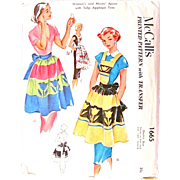 Misses Apron with Tulip Applique, Vintage 1951 Sewing Pattern, McCall's 1665, Uncut Factory Folded w/ Transfer, One Size, Bib Apron and Half Apron