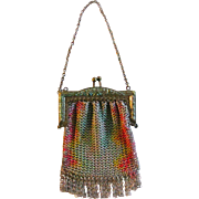 Metal Mesh Purse Boudoir Doll or Child Size Colored Art Deco Design Vintage 1920s