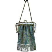 Enameled Chain Mesh Doll or Childs Purse Vintage 1900s
