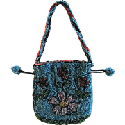 Beaded Bag Floral Design Vivid Colors Doll or Childs Size Vintage Early 1900s