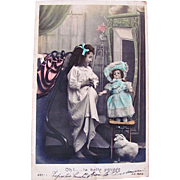 Little Girl With Big Doll, Hand Tinted French RPPC, La Belle Poupee, Postmarked 1904
