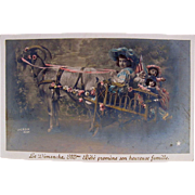 Little Girl In Goat Cart With Dolls, Hand Tinted Antique French Real Photo Postcard, Circa Early 1900s