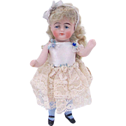 All-Bisque Dollhouse Doll with Original Wig, Miniature Doll, Circa Early 20th Century