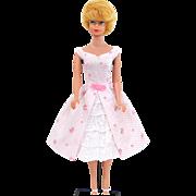 Yellow Blonde Bubble Cut Barbie Doll Wearing Garden Party Fashion #931 Mattel Vintage Circa 1961-62