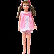 Skipper Doll, TNT Java Brown Sausage Curl, Wearing Baby Dolls Fashion, Vintage 1968-69