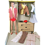 Flocked Hair Ken Doll, Case and Clothing, Mattel, Circa 1961-63