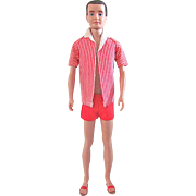 First issue Flocked Hair Ken Doll with Original Swim Trunks, Tagged Jacket and Sandals Vintage 1961