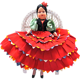 Flamenco Dancer Girl Felt and CLoth Lenci-Type Doll 18 Inches Tall