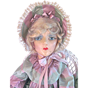 Boudoir Doll Sterling Composition with Jointed Arms Dressed as Southern Belle