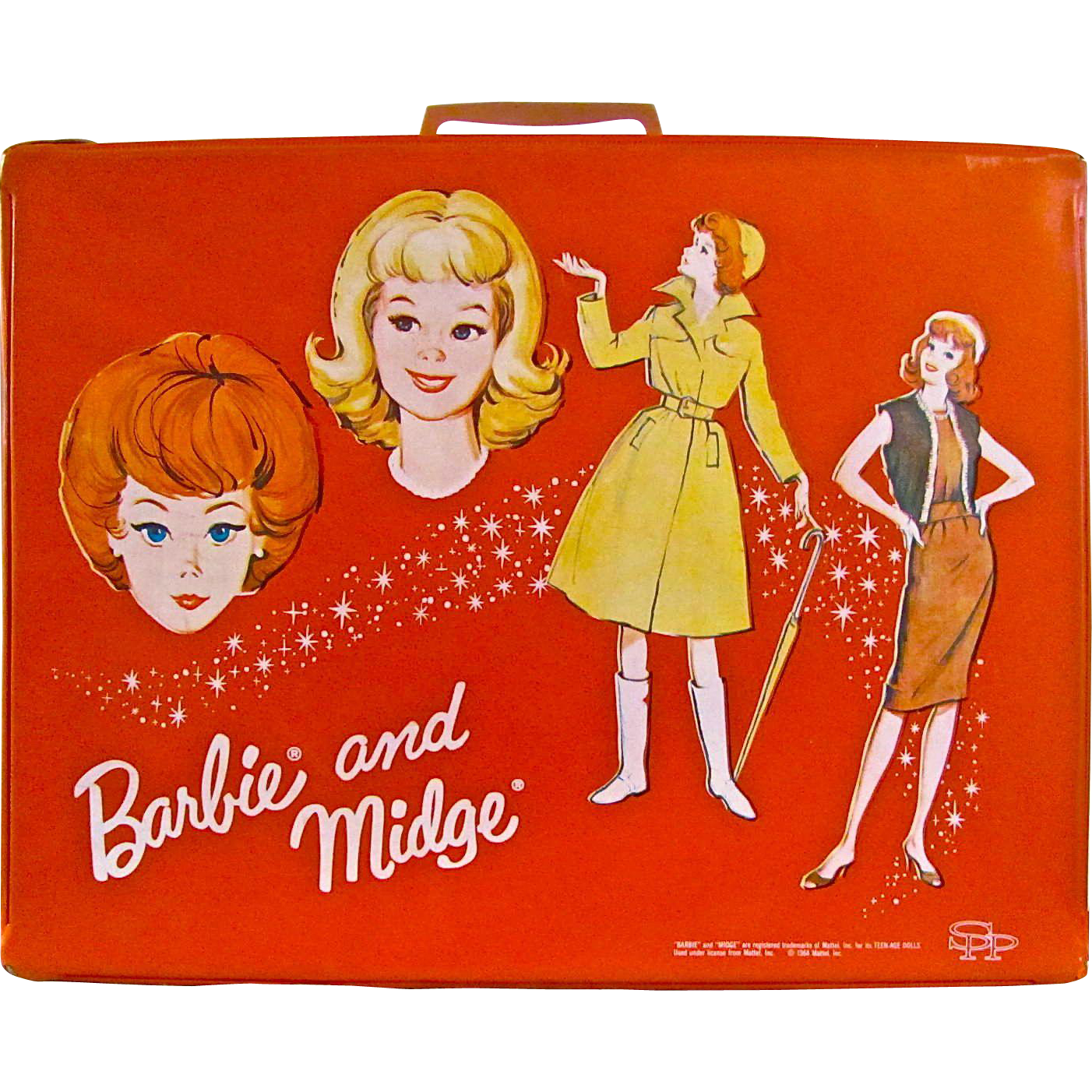 Barbie and Midge Double Doll Case Vintage 1963, Red Vinyl Suitcase, Standard Plastic Products