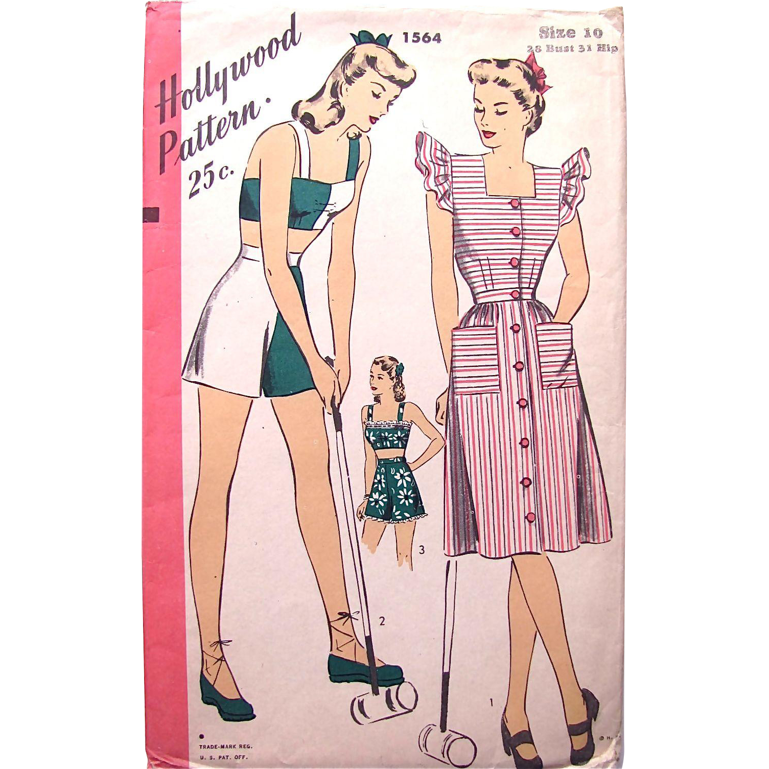 Hollywood Pattern 1564, Misses' Playsuit and Pinafore, Vintage 1940s, Size 10, Complete, Factory Folded