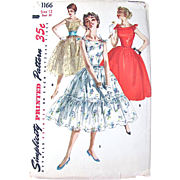 Party Dress Sewing Pattern Simplicity 1166 Misses Size 12 Vintage 1950s Cut and Complete