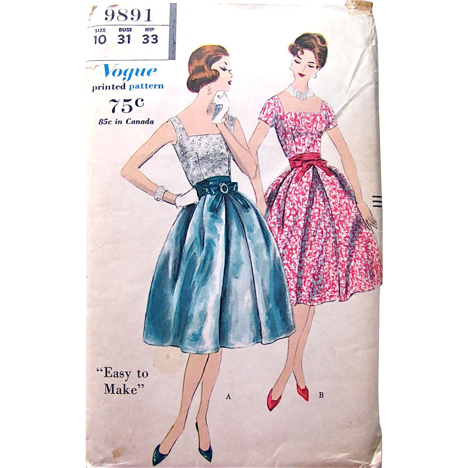 Uncut Sewing Pattern Vogue 9891, 2-Piece Party Dress, Vintage 1959, Misses Size 10 Bust 31, Factory Folded
