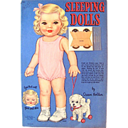 Sleeping Dolls Paper Dolls With Eyes That Open and Close Uncut in Original Folder Whitman Vintage 1945