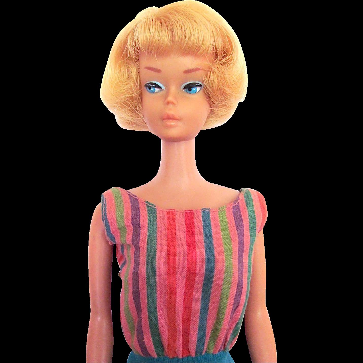 American Girl Barbie Doll in Original Swim Suit Light Blonde Mattel Vintage 1966