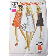 Sewing Pattern Simplicity 7677 Uncut Factory Folded Mini Dress Misses Size 14 Bust 36 inches