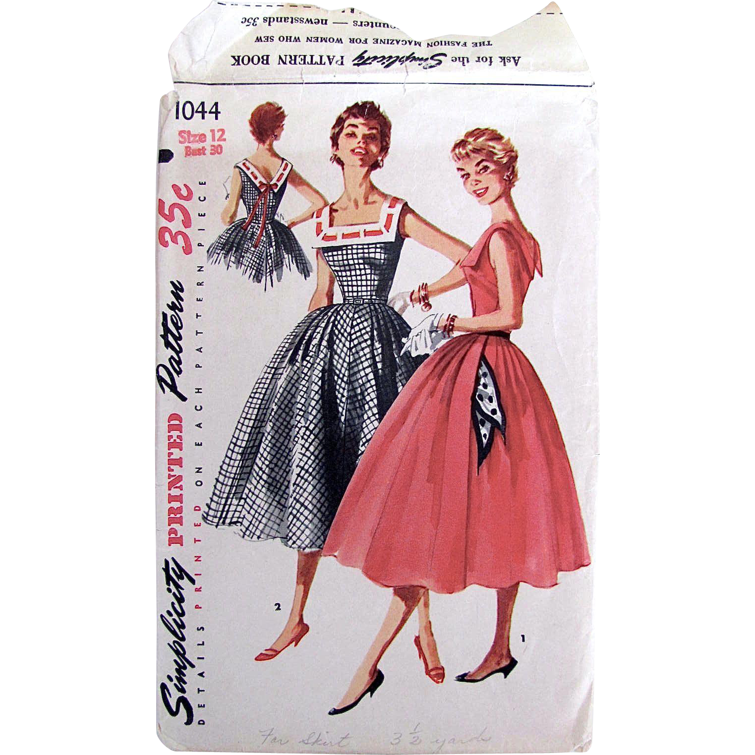 1950s Sun Dress, Simplicity Pattern 1044, Misses Size 12, Cut and Complete, Vintage 1955, Bust 30, Full Skirt, Deep V Back, Wide Collar