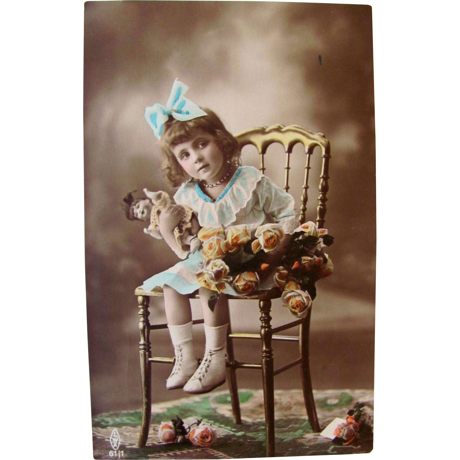 Tinted Real Photo Dutch Postcard Little Girl With Bisque Doll and Roses, Vintage 1926