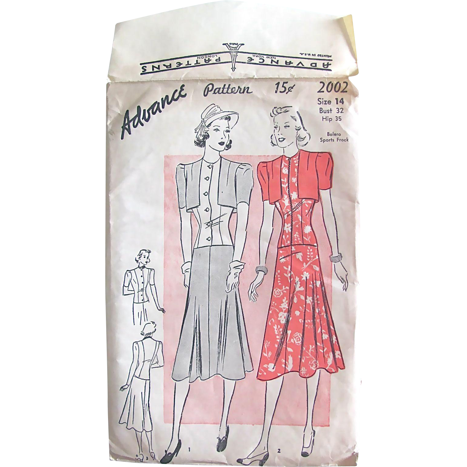 Advance Pattern 2002, Vintage 1930s Sports Frock, Skirt, Blouse and Bolero Jacket, Factory Folded, Misses Size 14