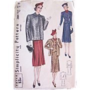 Misses Top Coat and Suit Pattern, Simplicity 2884, Complete Factory Folded, Bust 40, Hip 43 Vintage 1930s