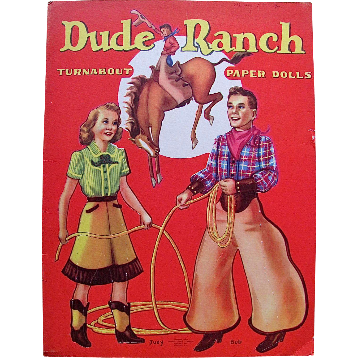 Dude Ranch Turnabout Paper Dolls, Uncut, Samuel Lowe, Vintage 1943