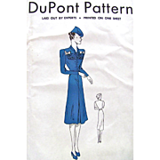 Ladies Dress Pattern Uncut Vintage 1939 Du Pont Size 16-18-20 Military Style