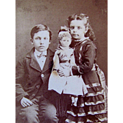 Children, Brother and Sister with Fashion Doll Original CDV Photograph Circa 1800s