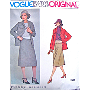 Pierre Balmain Misses Raglan Sleeved Jacket and Yoked A-Line Skirt, Vogue #1306 Paris Original Sewing Pattern, Uncut, FF, Size 12 Bust 34, Vintage 1970s