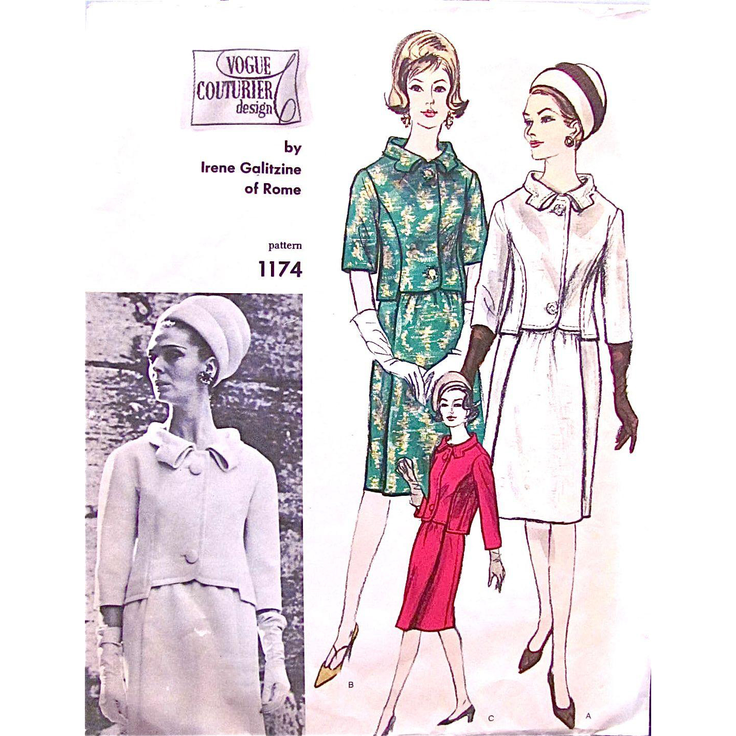 Vogue Couturier Design Pattern 1174, Irene Galitzine of Rome, Misses Suit, Fitted Jacket, Gathered Skirt, Size 14, Bust 34, Vintage 1960s, Cut and Complete