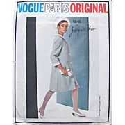 Vogue Paris Original Pattern 1540, Jacques Heim, Misses One-Piece Dress and Coat, Size 14, Bust 34, Vintage 1960s, Cut and Complete