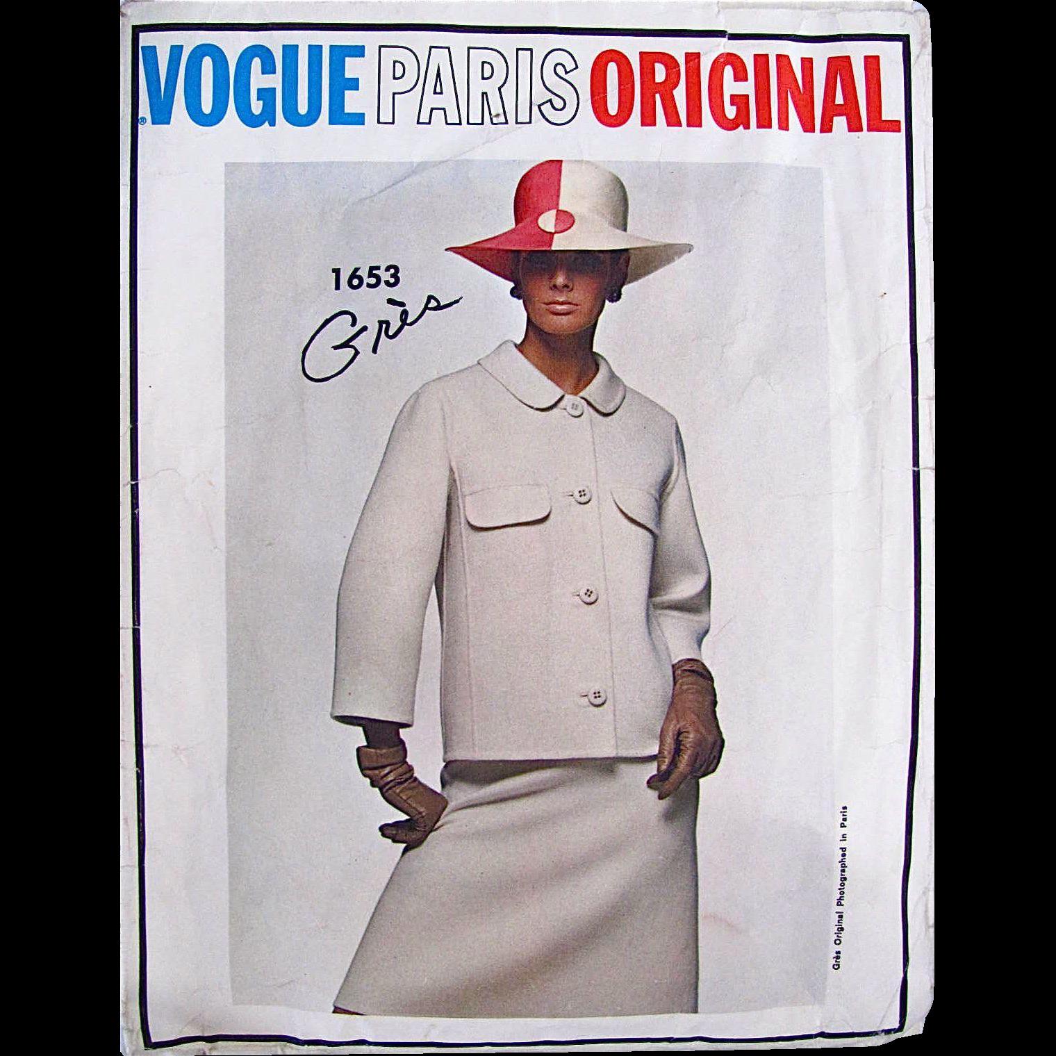 Vogue Paris Original Sewing Pattern1653.  Women's Suit Pattern, Designer Gres, Misses Size 14, Bust 34, Cut, Complete, Vintage 1960s