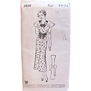 Misses Slip-On Dress Pattern, Mail Order Newspaper Pattern, Lancaster New Era No. 2858, Factory Folded, Vintage 1930s, Size 16, Bust 34, Original Mailing Envelope