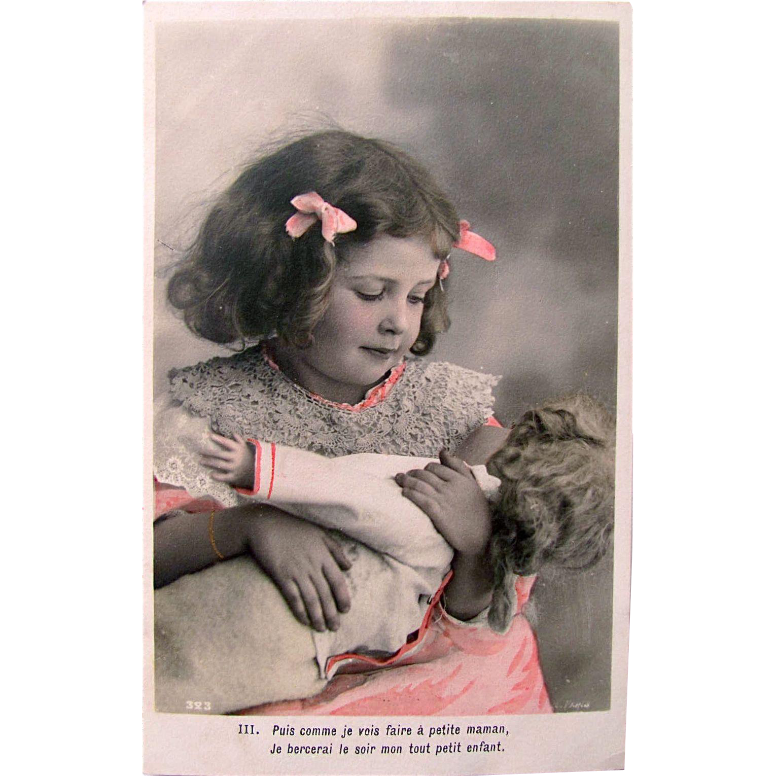 Little Mother with Her Doll, French Antique RPPC Tinted Postcard, Vintage Early 1900s