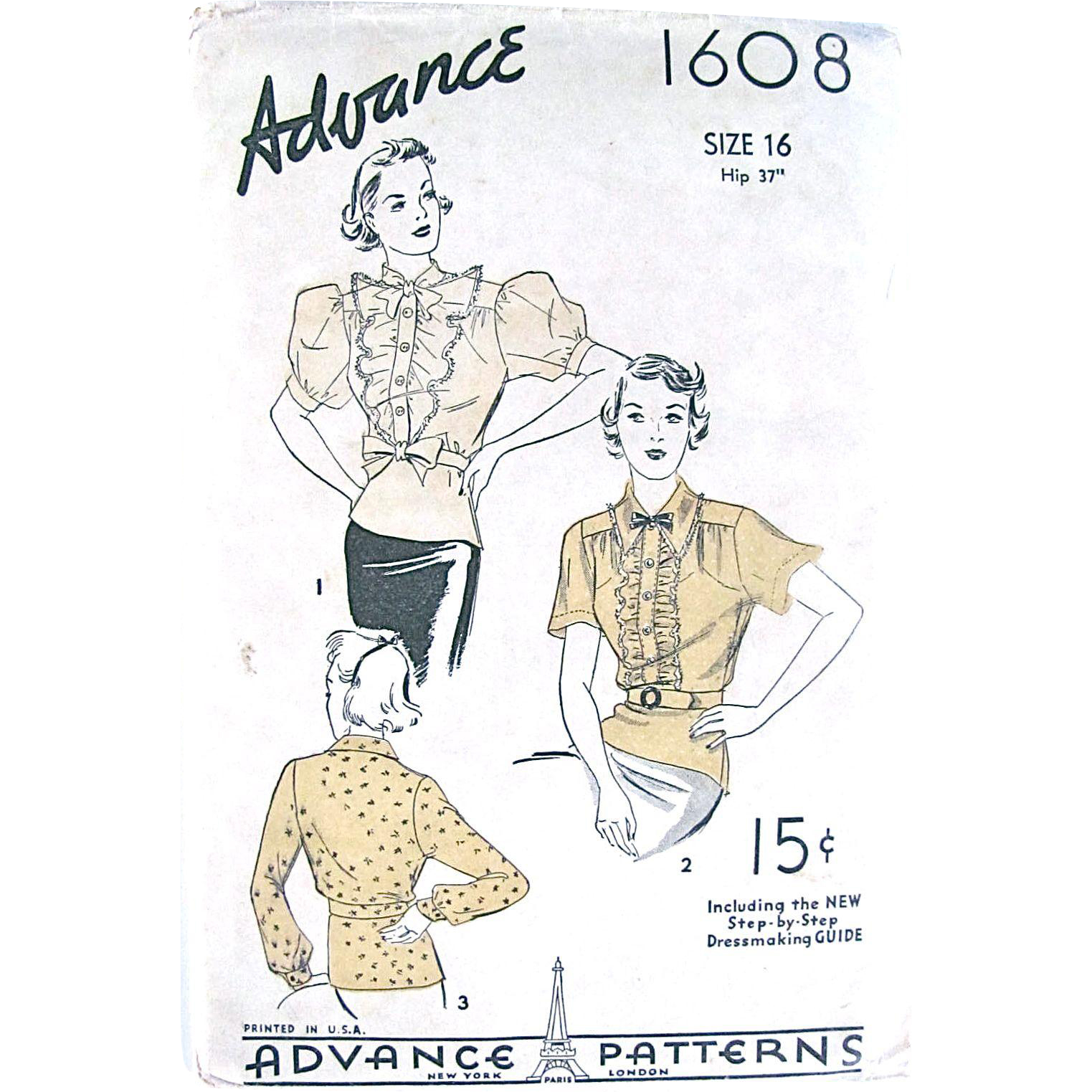 Blouse Pattern, Advance 1608, Womens Size 16, Paris Design, Factory Folded, Vintage 1930s