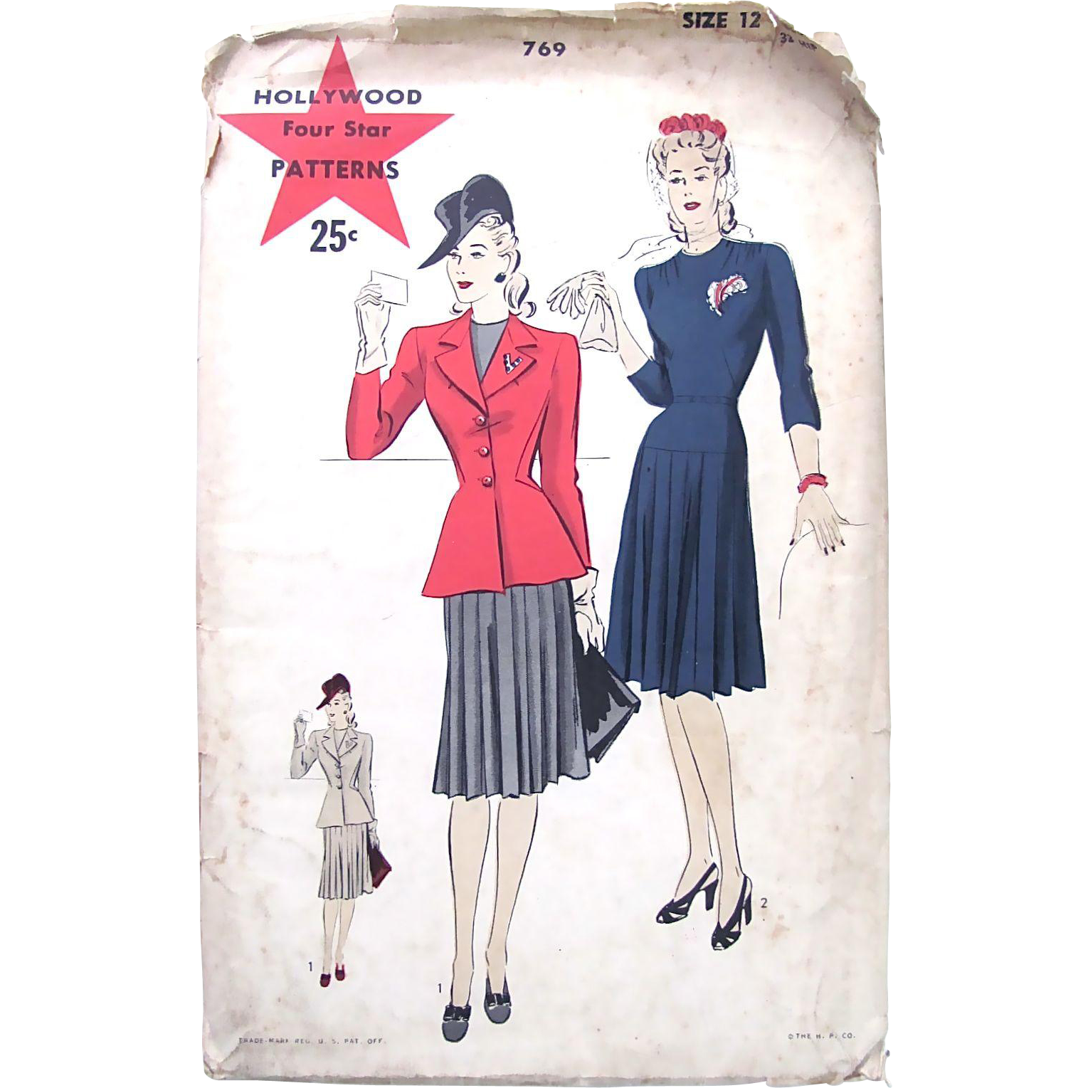 Hollywood Sewing Pattern No. 769, Unused and Factory Folded, Misses One Piece Dress with Jacket, Size 12, Bust 30 inches, Vintage 1940s
