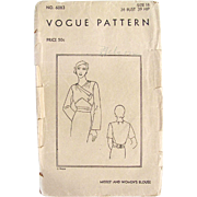 Vogue Pattern 6083, Misses and Womens Blouse, Complete, Size 18, Bust 36, Vintage 1930s